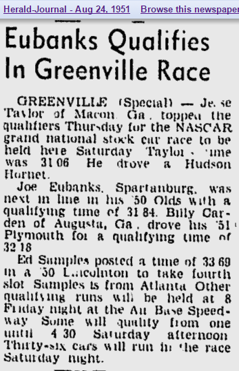 Aug 25th 1951 The Forgotten Race At Air Base Speedway